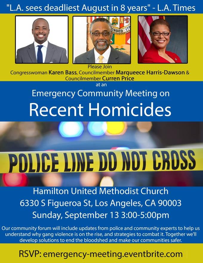 Emergency Community Meeting: Recent Homicides Sunday September 13