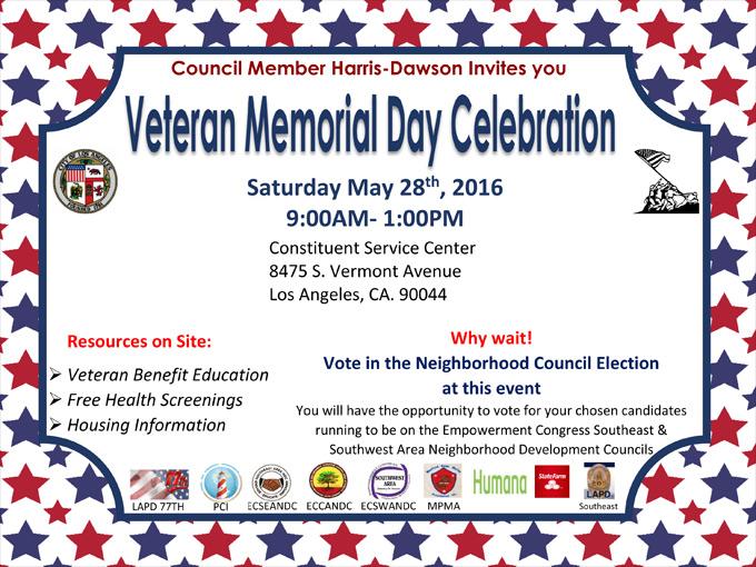 Veteran Memorial Day Celebration