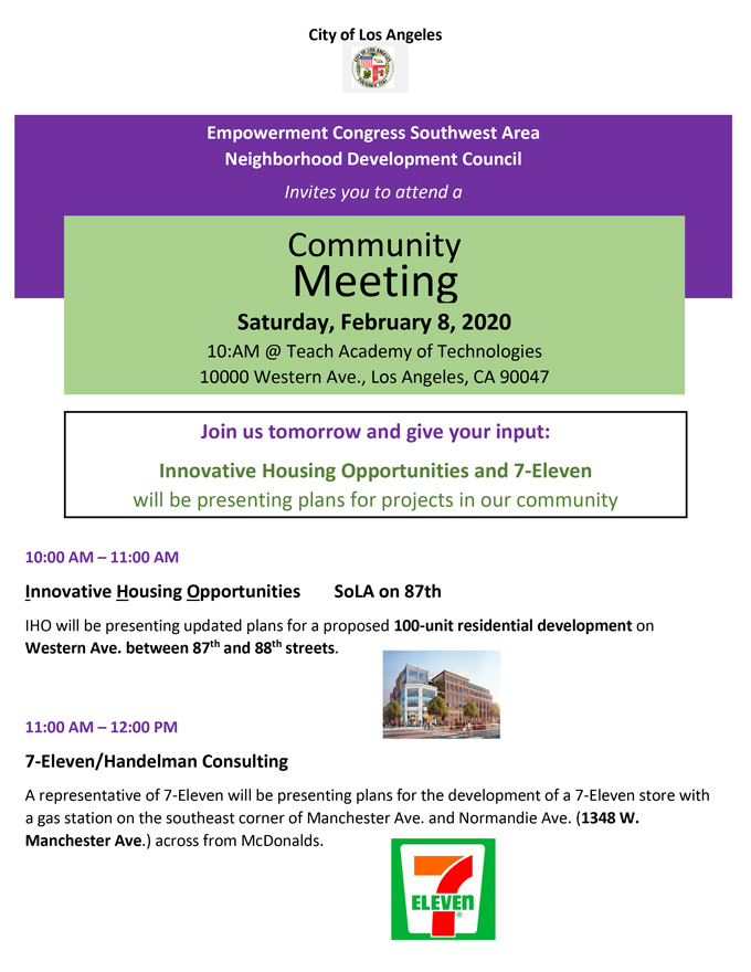 Community Meeting: Innovative Housing & 7-Eleven February 8