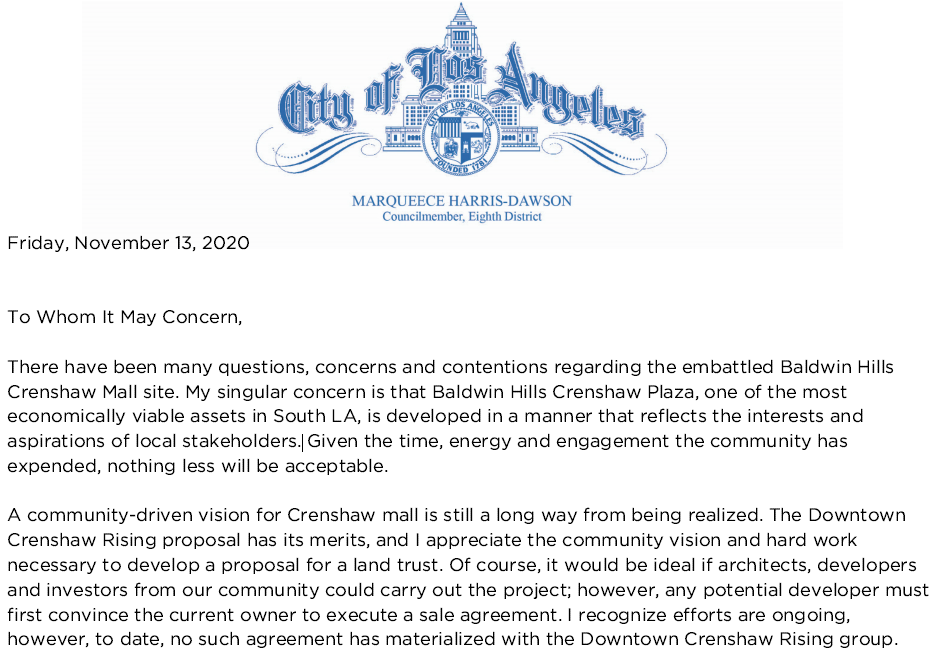 Councilmember Marqueece Harris-Dawson's response to the sale of the Baldwin Hills Crenshaw Plaza