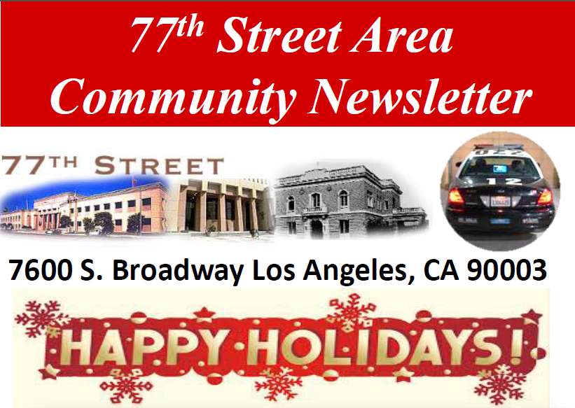 Get the 77th Street Area Community Newsletter Holiday Edition
